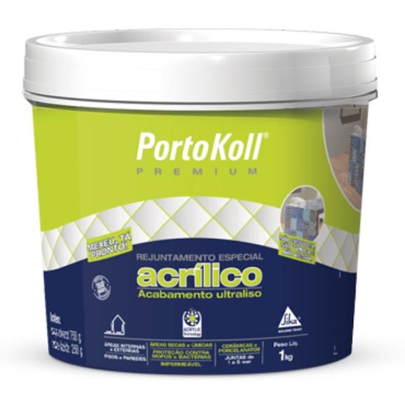 Rejunte Acrílico 1kg Cinza Artico Plus PortoKoll