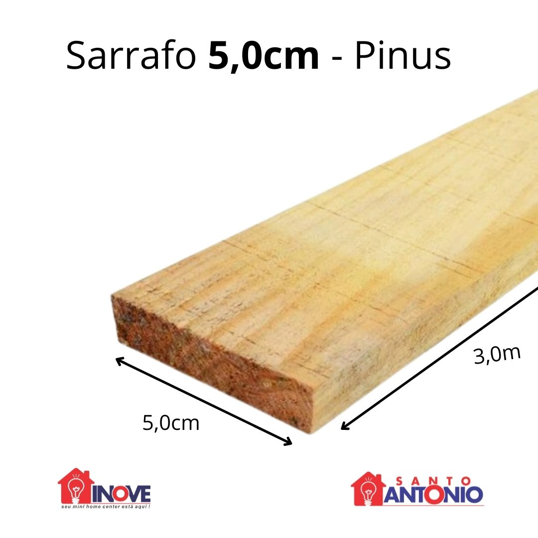 Sarrafo Pinus 5,0cm x 3 metros Unidade