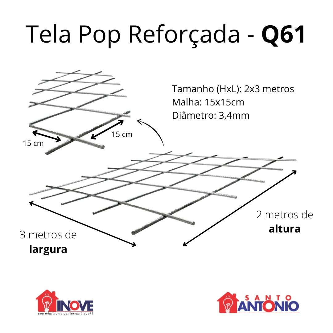 Tela Pop Reforçada 15x15cm 3,4mm 2x3m Unidade