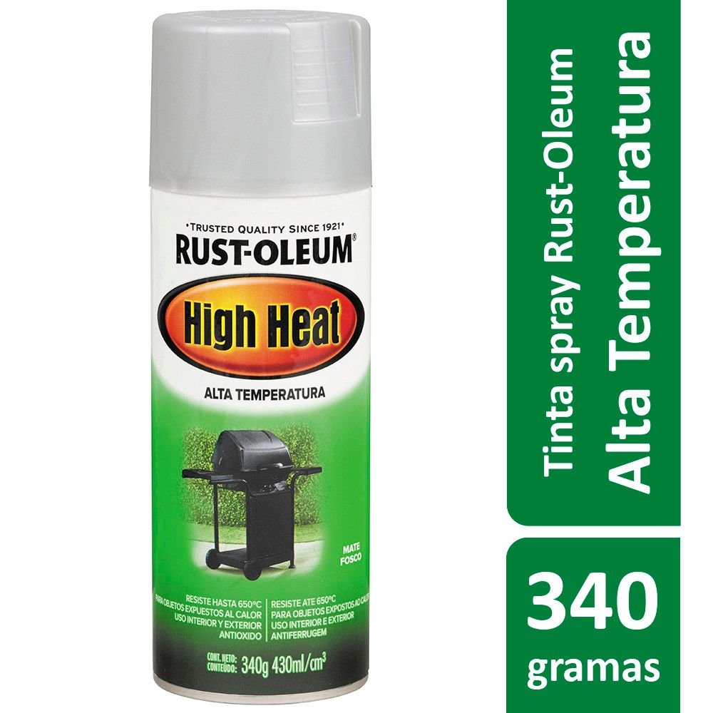 Tinta Spray Alta Temperatura Para Fogão Churrasqueira Prata High Heat 340g Rust Oleum