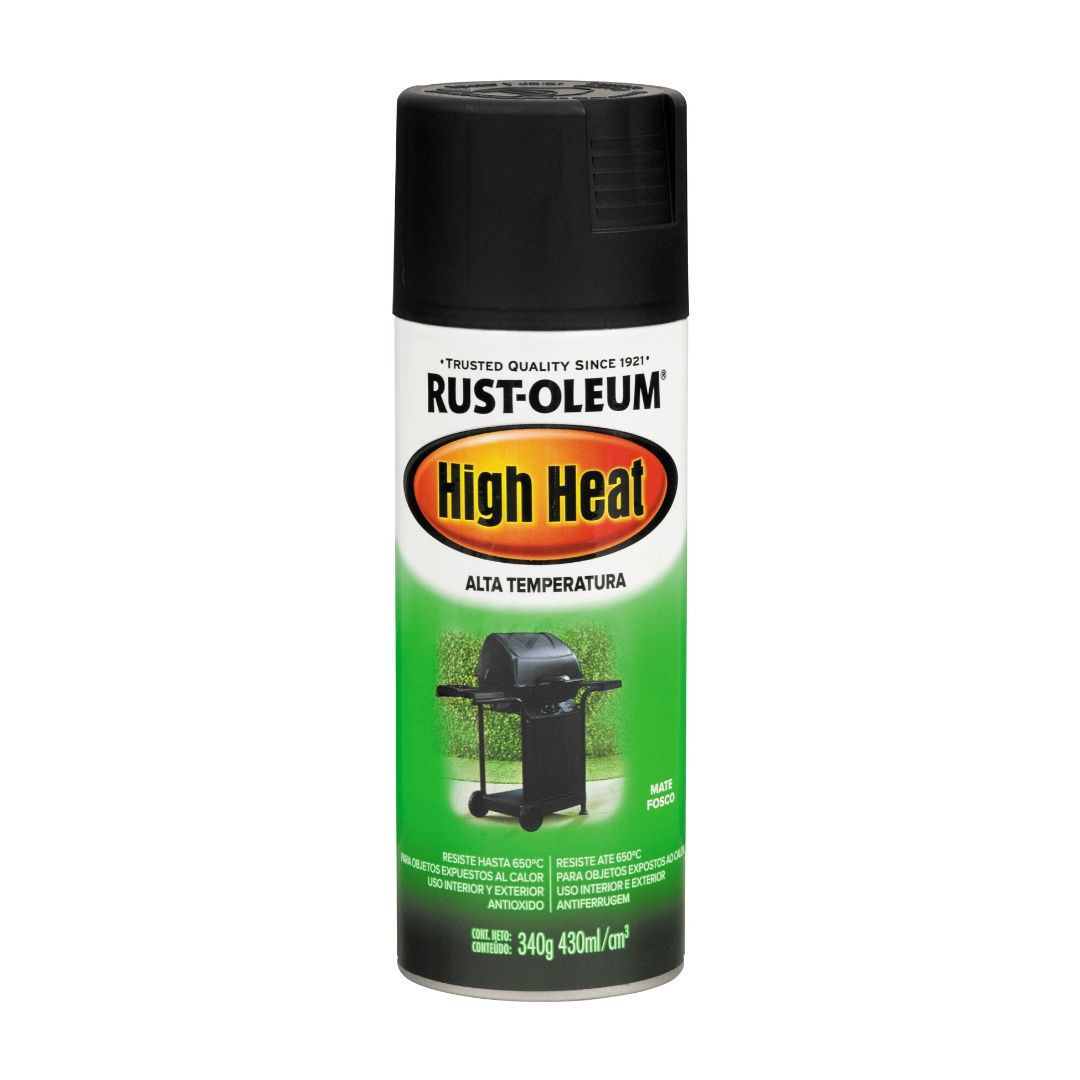 Tinta Spray Alta Temperatura Para Fogão Churrasqueira Preto High Heat 340g Rust Oleum