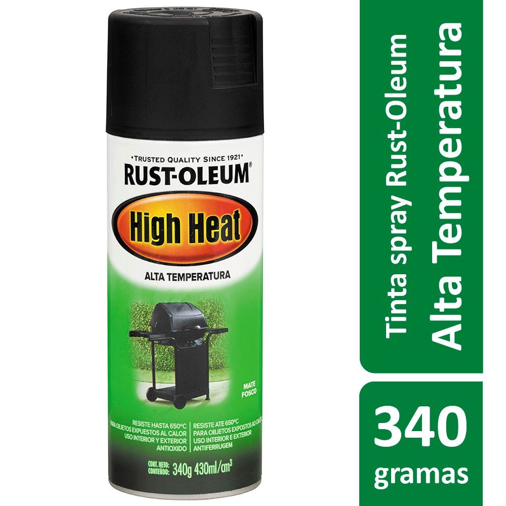 Tinta Spray Alta Temperatura Para Fogão Churrasqueira Preto High Heat 340g Rust Oleum