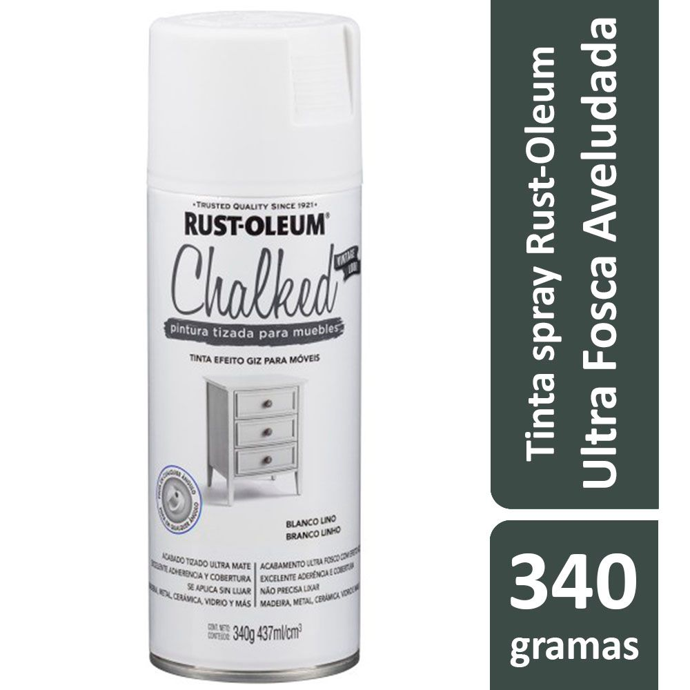 Tinta Spray Chalked Efeito Giz Branco Linho Rust Oleum