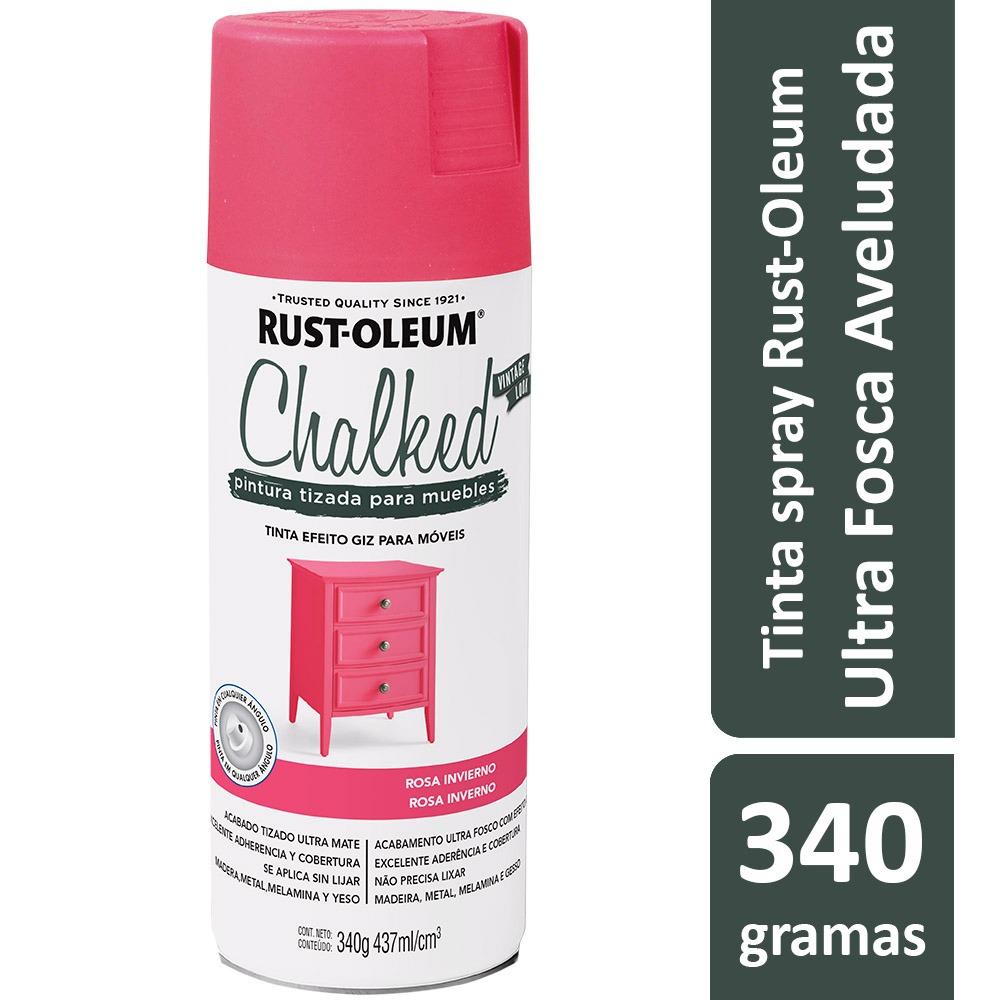 Tinta Spray Chalked Efeito Giz Rosa Inverno Rust Oleum