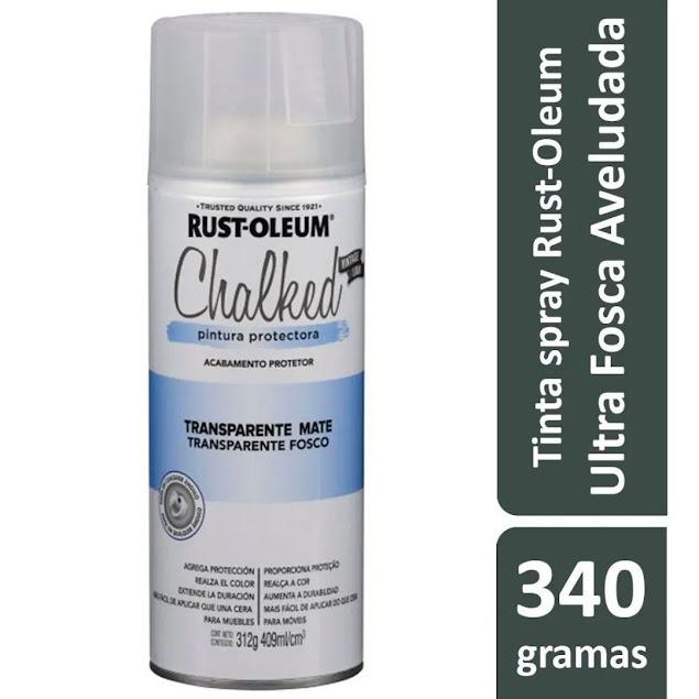 Tinta Spray Chalked Efeito Giz Transparente Mate Rust Oleum