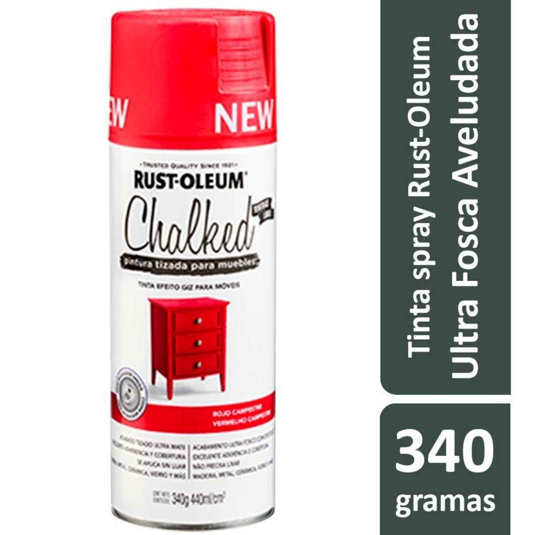 Tinta Spray Chalked Efeito Giz Vermelho Campestre 440ml Rust Oleum