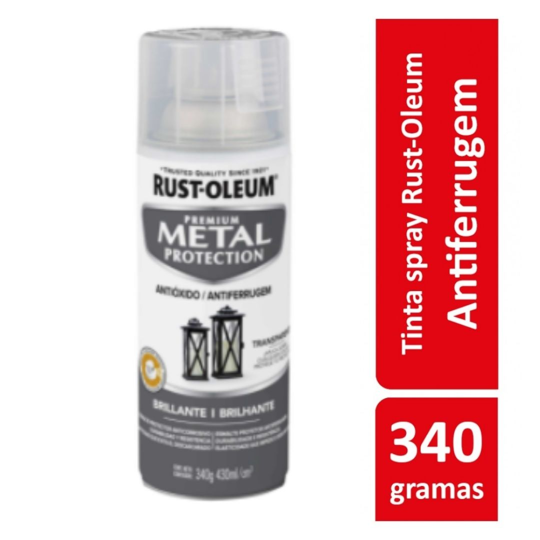 Tinta Spray Metal Protection Brilhante Transparente Rust Oleum