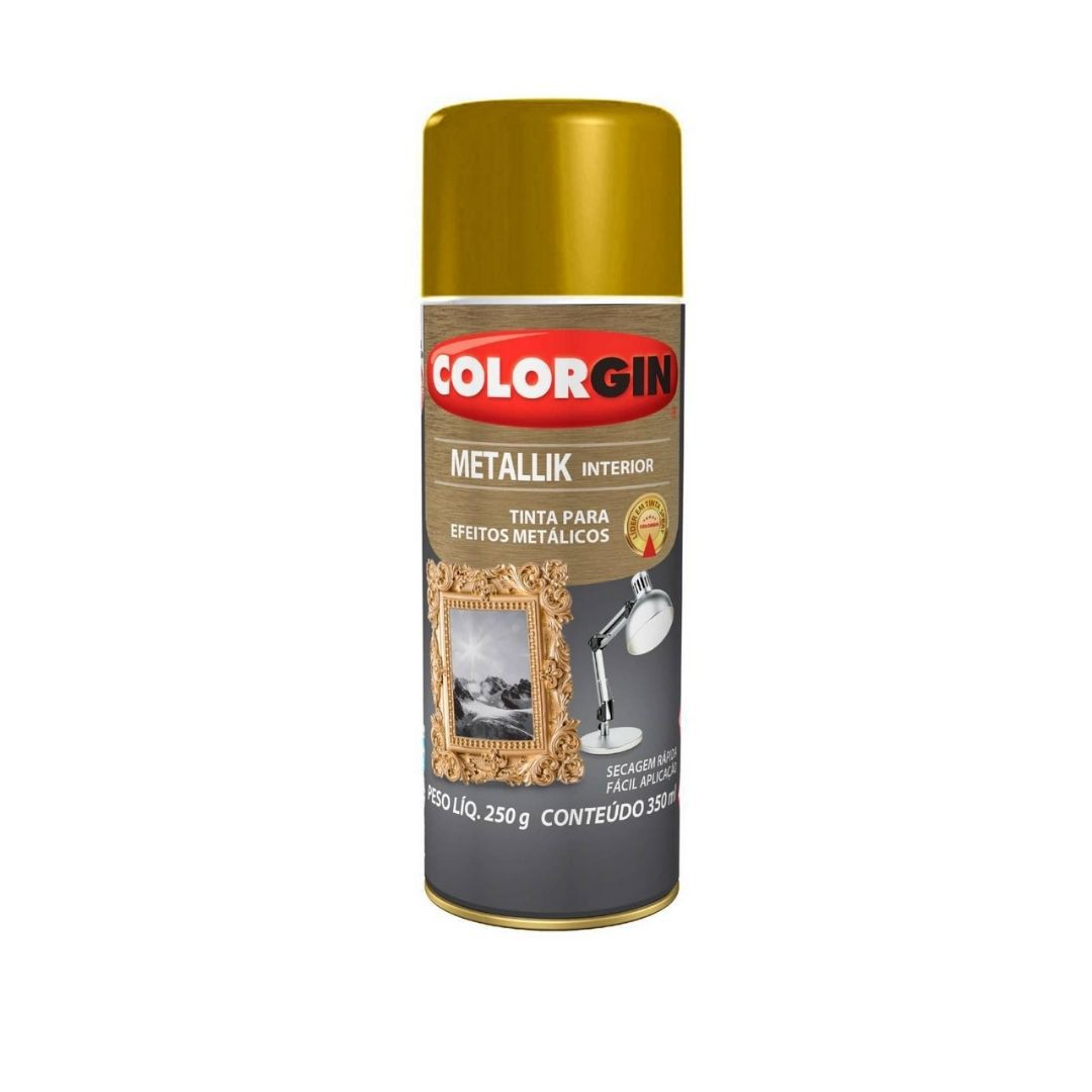 Tinta Spray metallik Ouro350ml Ref: 052 Colorgin
