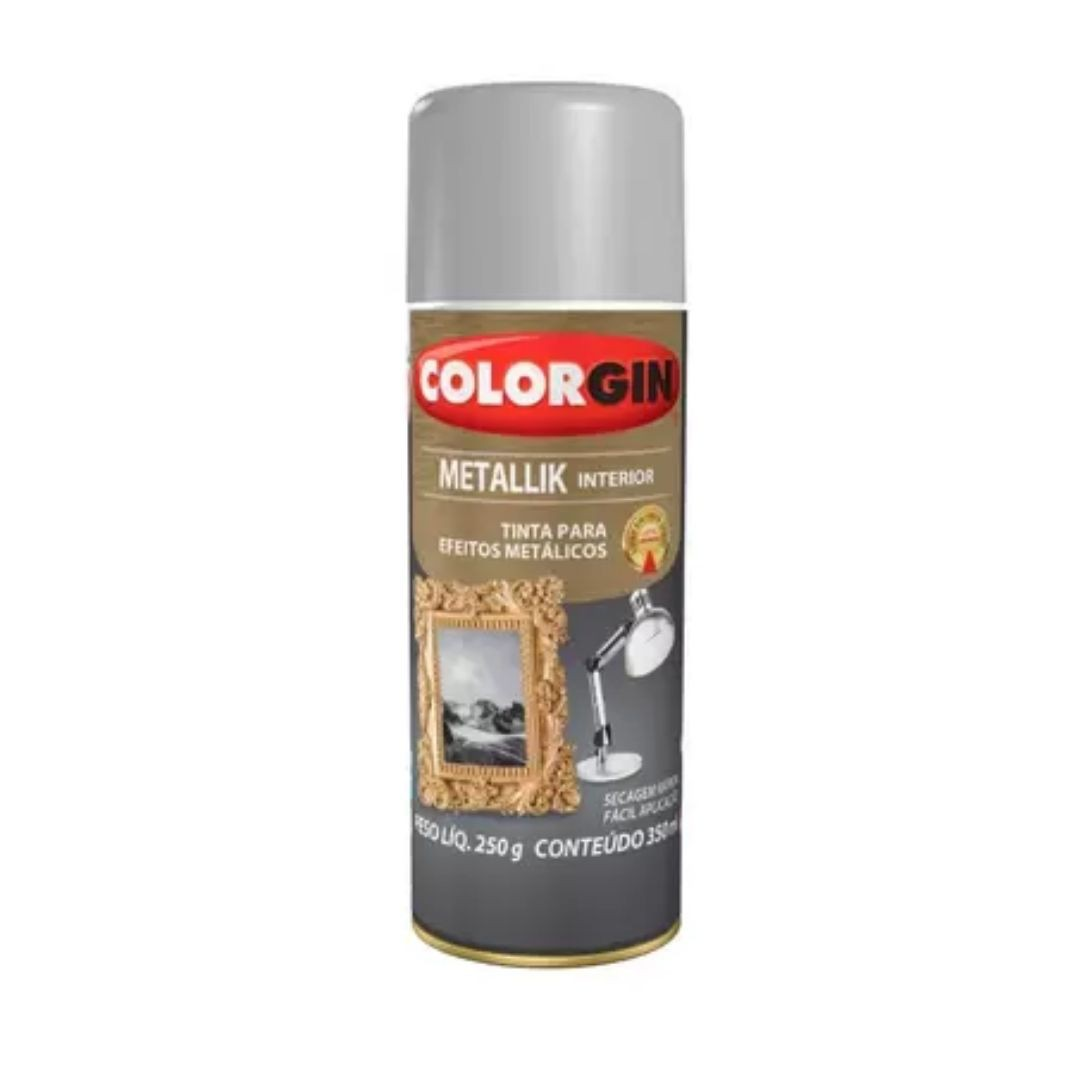 Tinta Spray metallik Prata 350ml Ref: 053 Colorgin