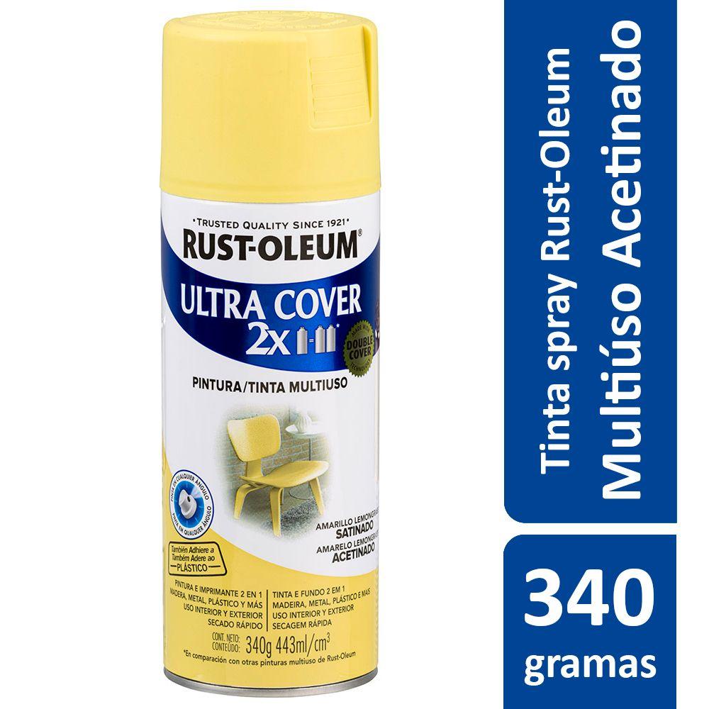 Tinta Spray Ultra Cobertura Amaerelo Lemongrass Acetinado Ultra Cover 340g Rust Oleum