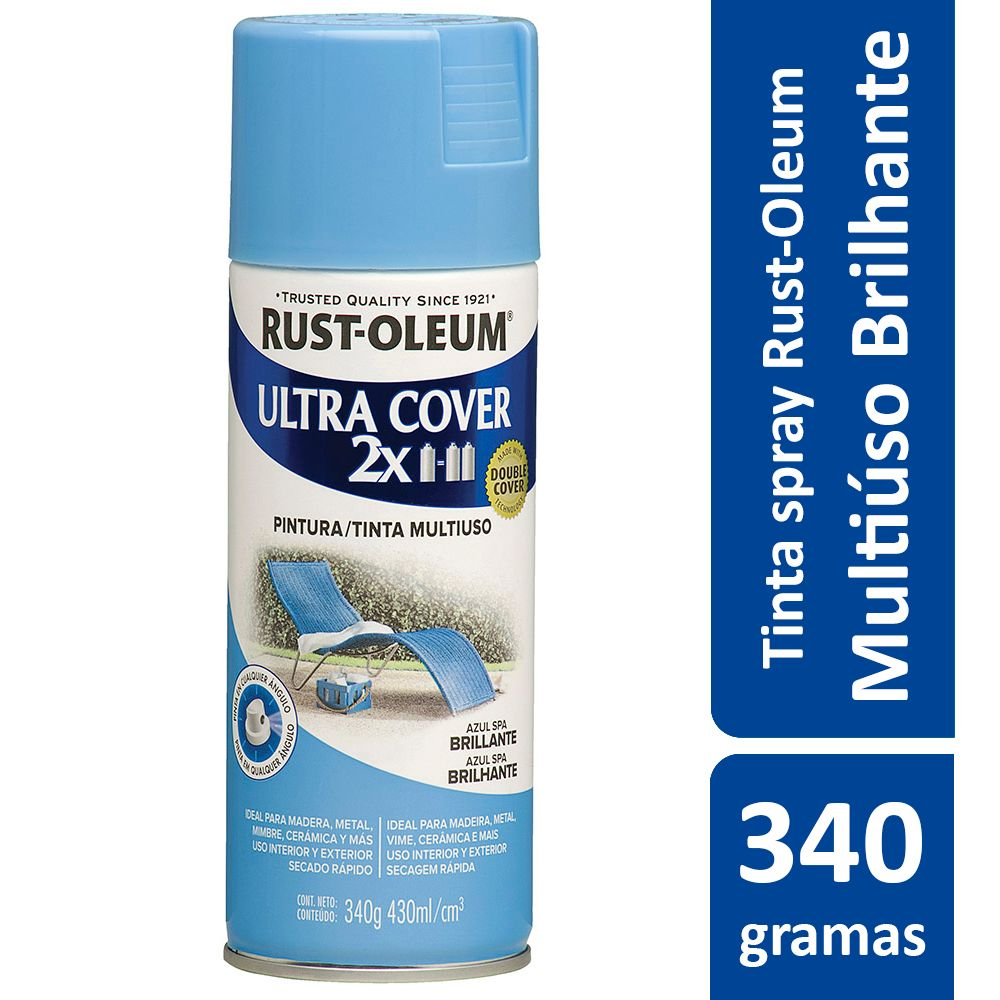 Tinta Spray Ultra Cobertura Azul Spa Brilhante Ultra Cover 340g Rust Oleum