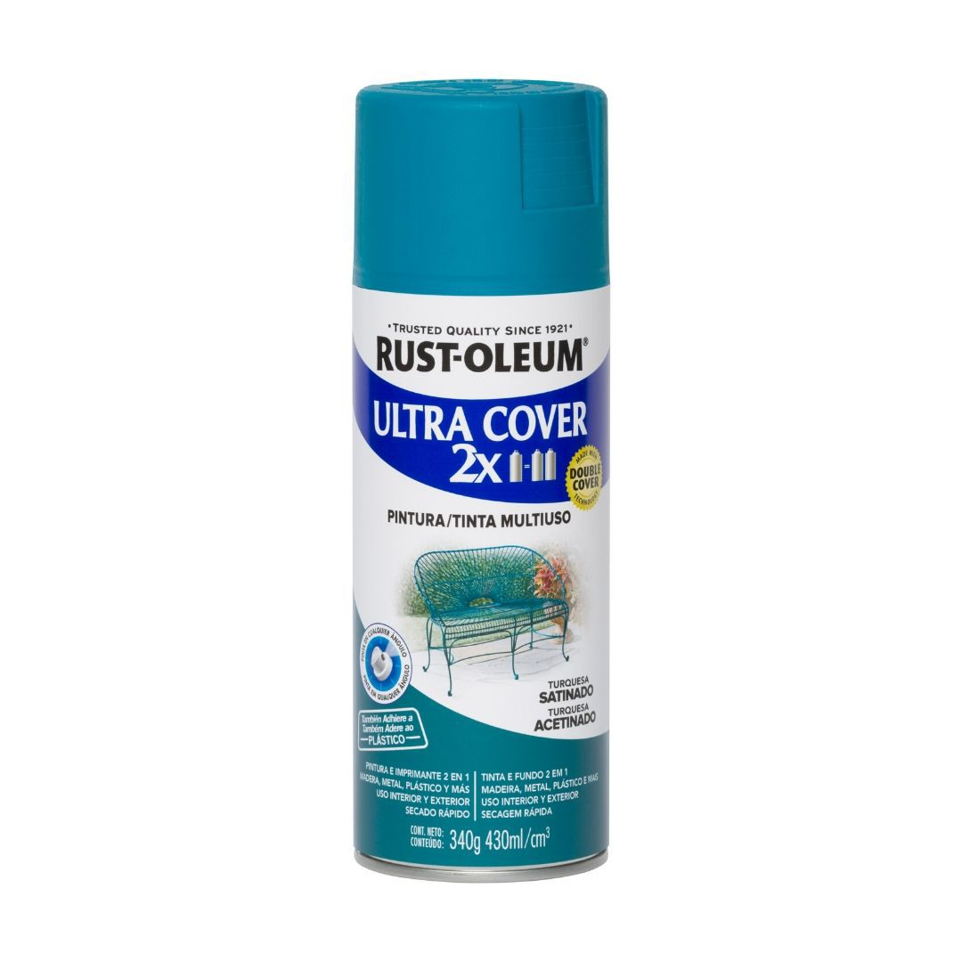 Tinta Spray Ultra Cobertura Azul Turquesa Acetinado Ultra Cover 340g Rust Oleum