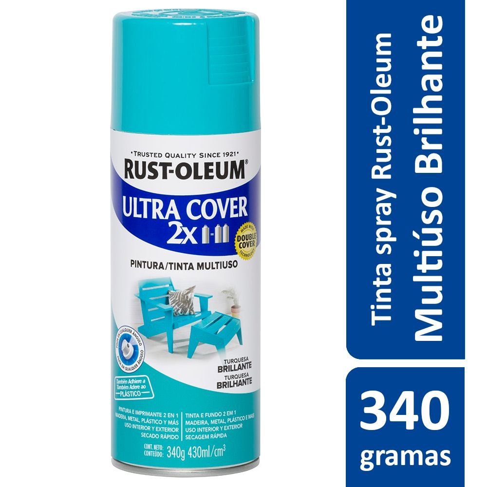 Tinta Spray Ultra Cobertura Azul Turquesa Brilhante Ultra Cover 340g Rust Oleum