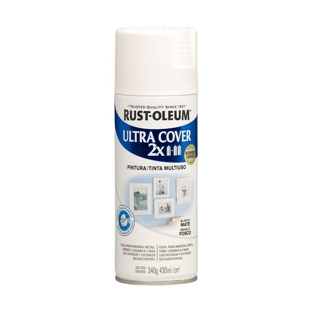 Tinta Spray Ultra Cobertura Branco Fosco Ultra Cover 340g Rust Oleum