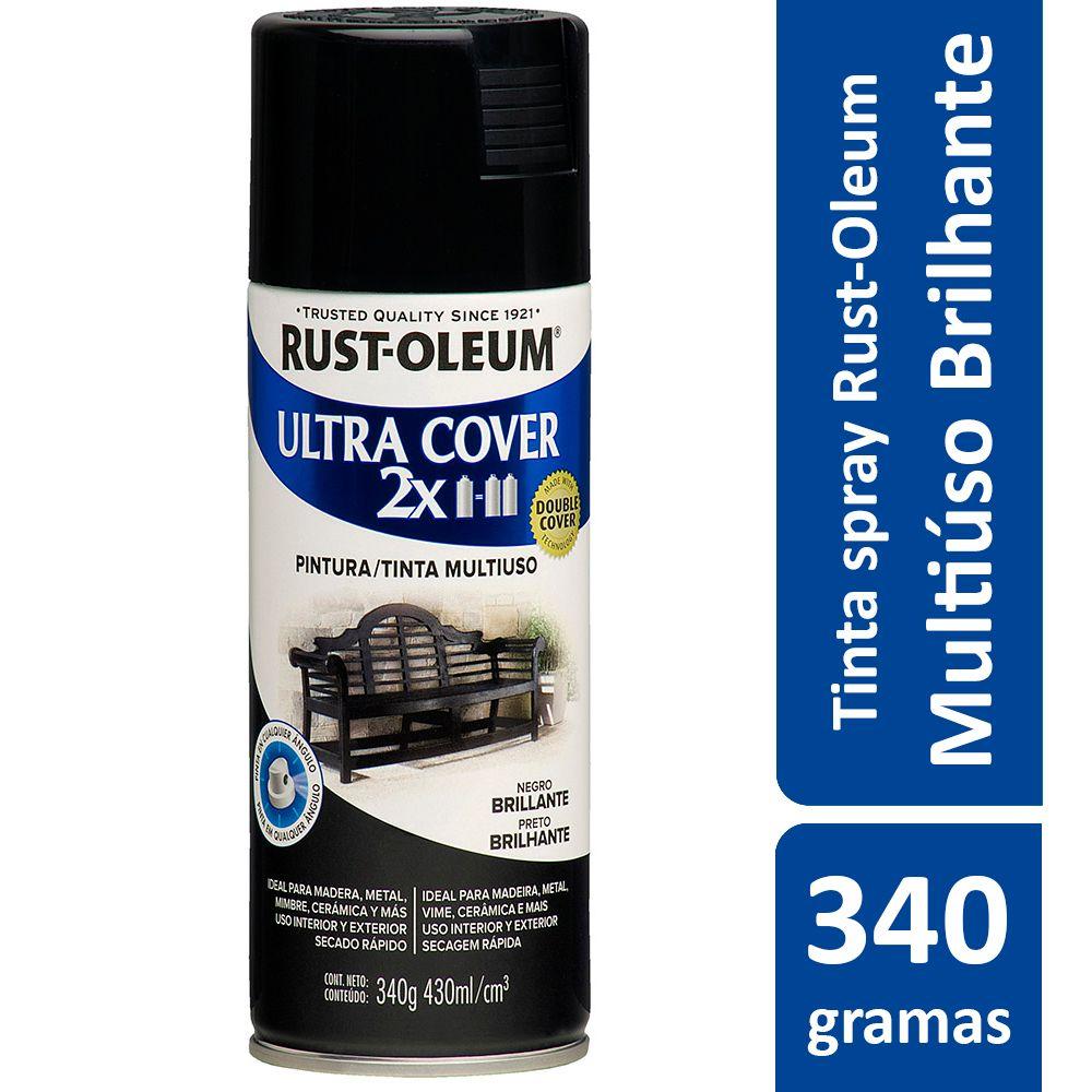 Tinta Spray Ultra Cobertura Preto Brilhante Ultra Cover 340g Rust Oleum