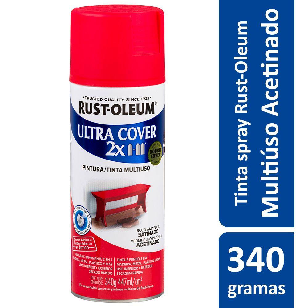 Tinta Spray Ultra Cobertura Vermelho Papoula Acetinado Ultra Cover 340g Rust Oleum