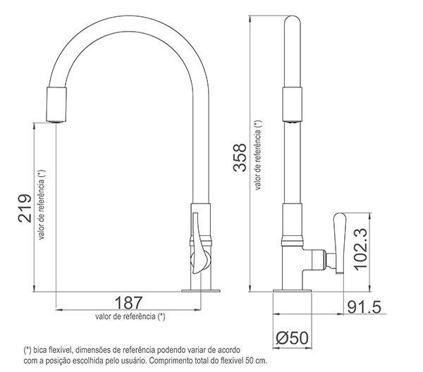Torneira Cozinha de Mesa Bica Flexível 1177 W27 Lorenzetti