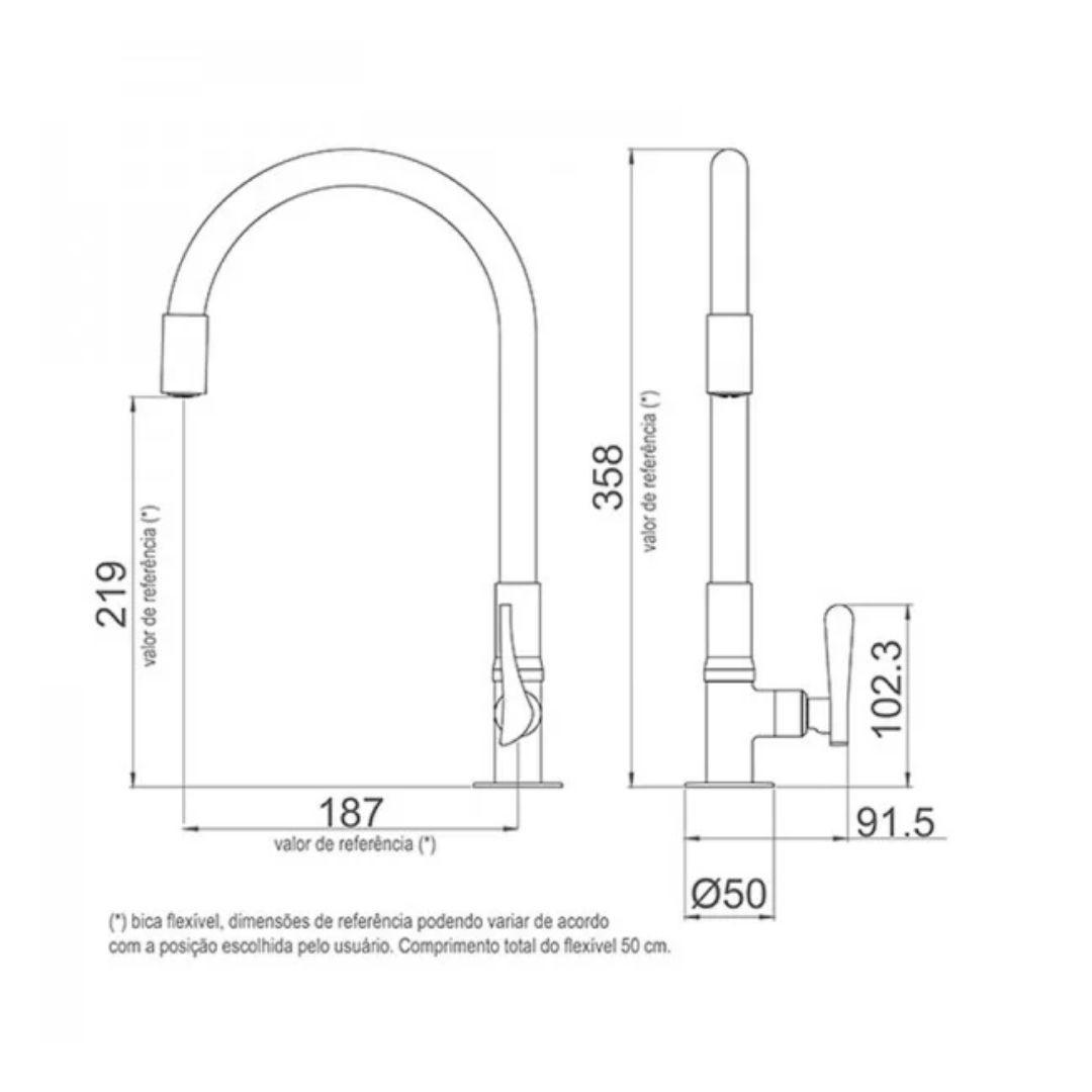 Torneira De Mesa Com Bica Flexível  Ref: 1177 R27 Lorenzetti