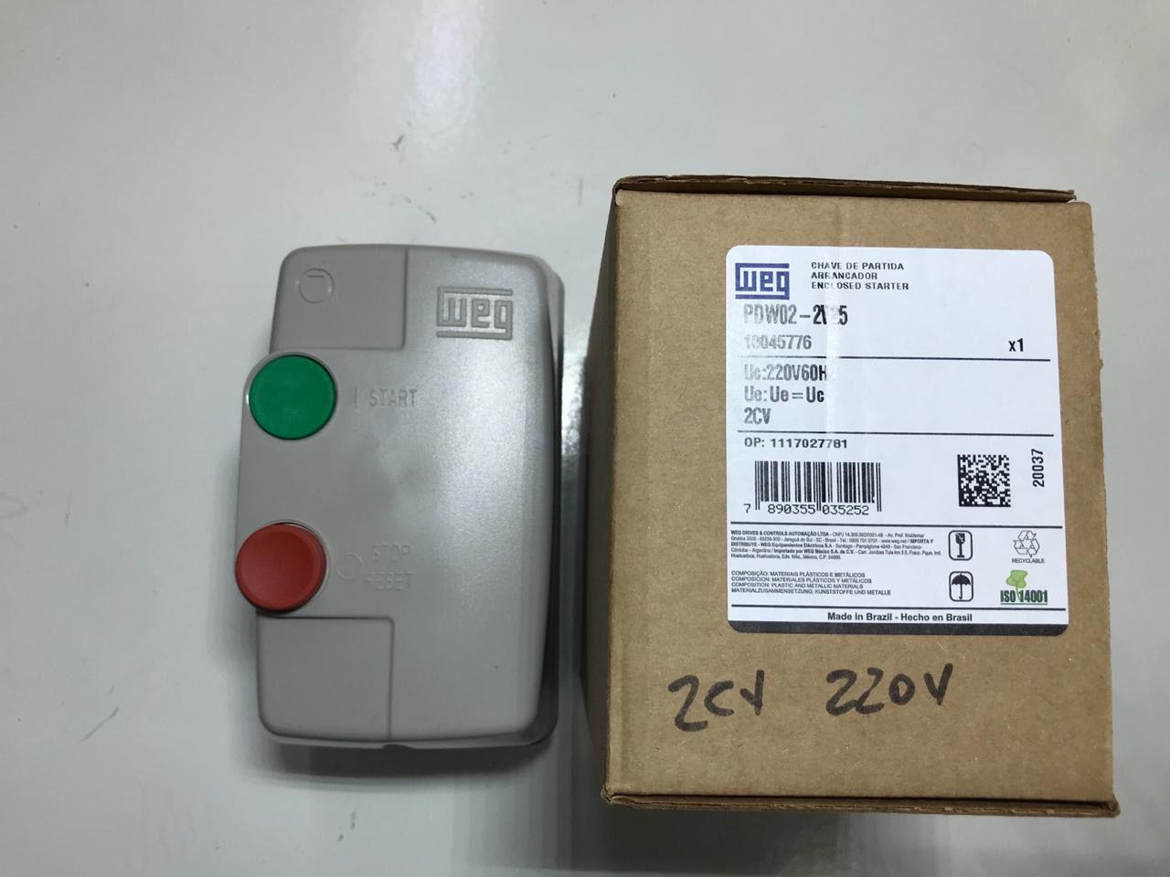 CHAVE PARTIDA DIRETA PDW02 220V WEG 2CV