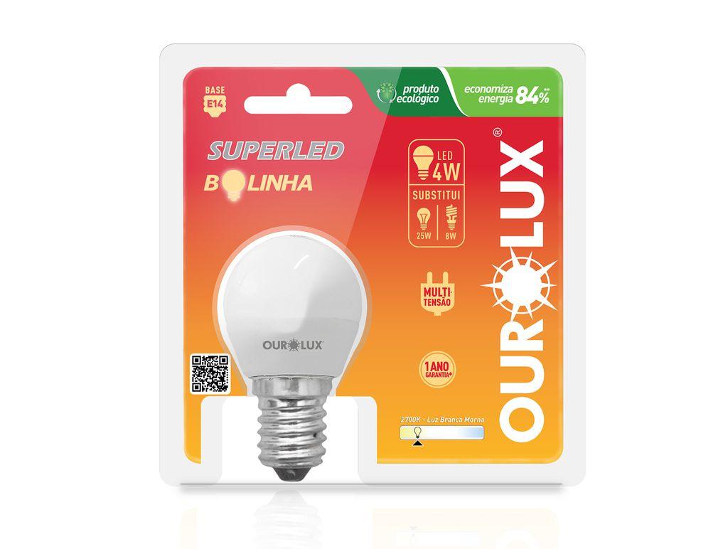 LAMPADA LED BOLINHA 4W 2700K BIV OUROLUX S30
