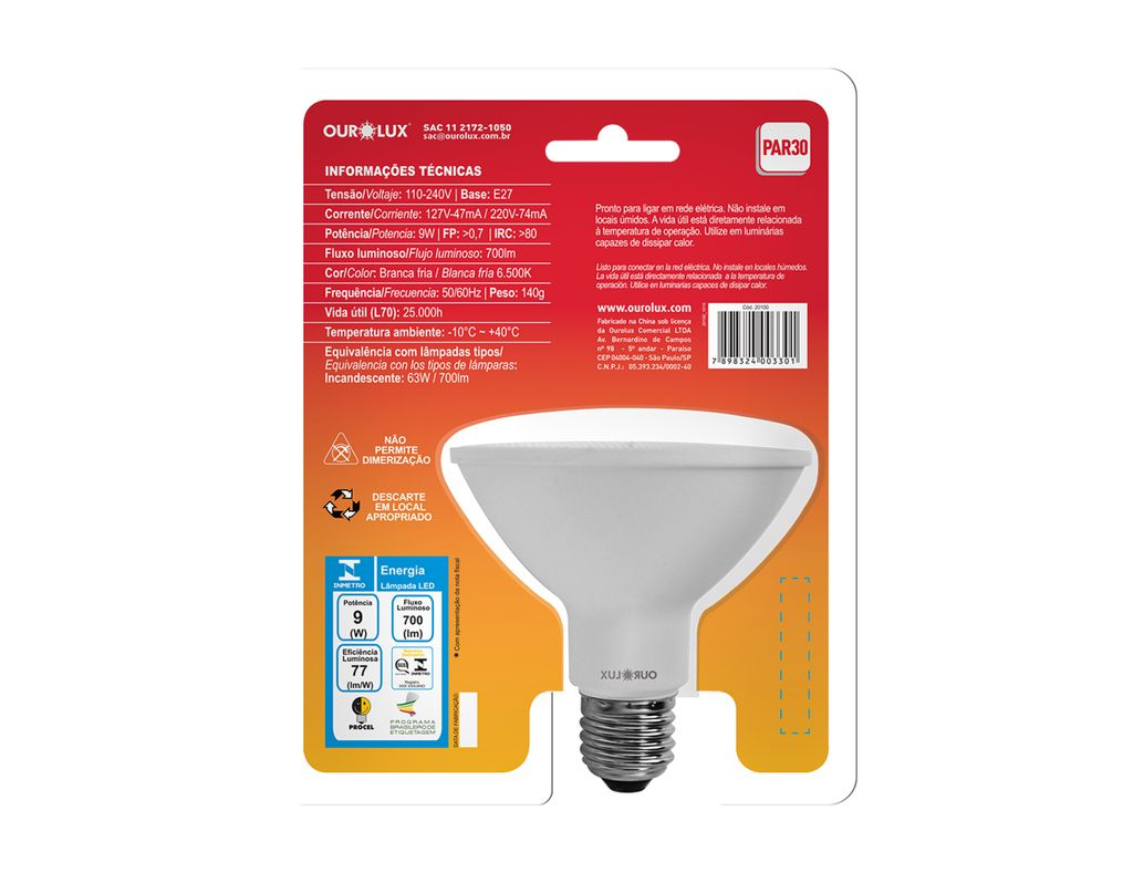 LAMPADA LED PAR30 9W 6.5K OUROLUX