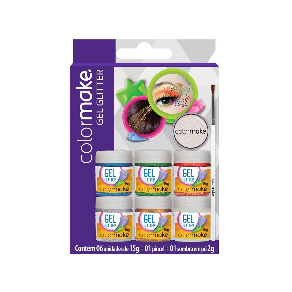 Cartela Gel Glitter com 6 cores + Pincel + Sombra