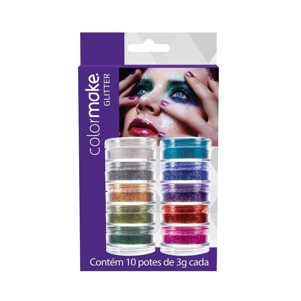 Cartela Glitter Pó 10 cores