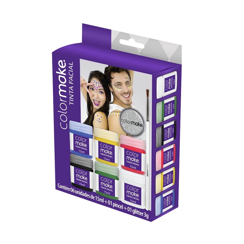 Cartela Líquida com 6 cores + Pincel + Glitter