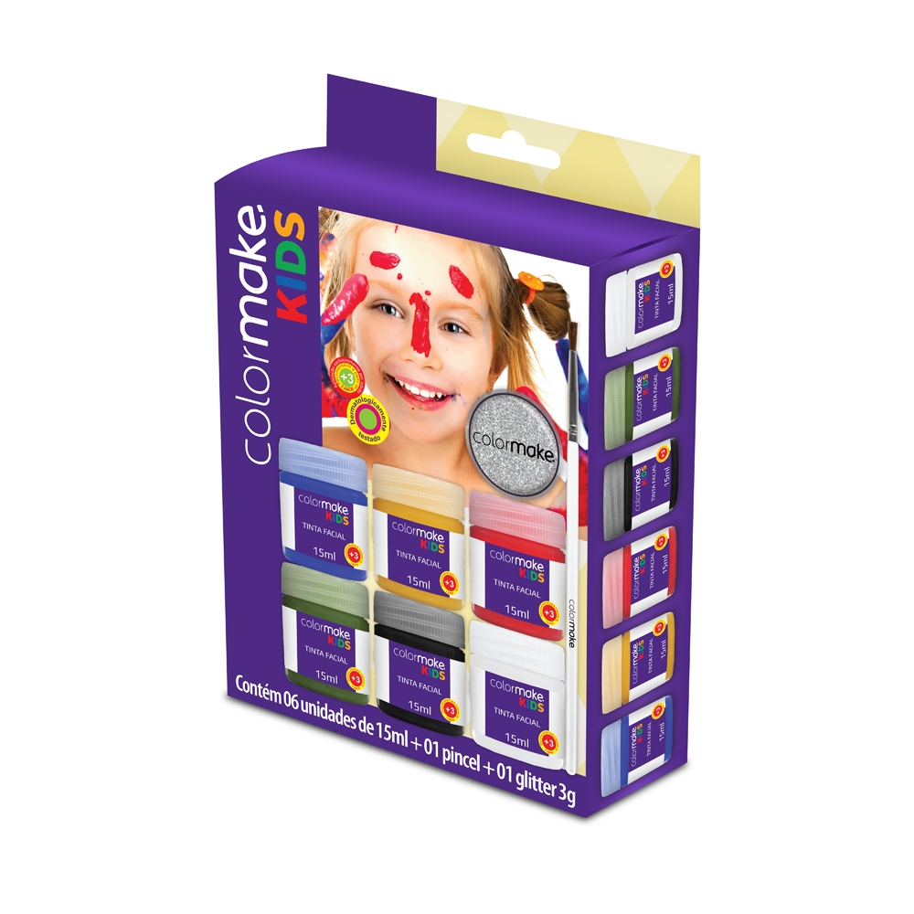 Cartela Líquida Kids com 6 cores + Pincel + Glitter