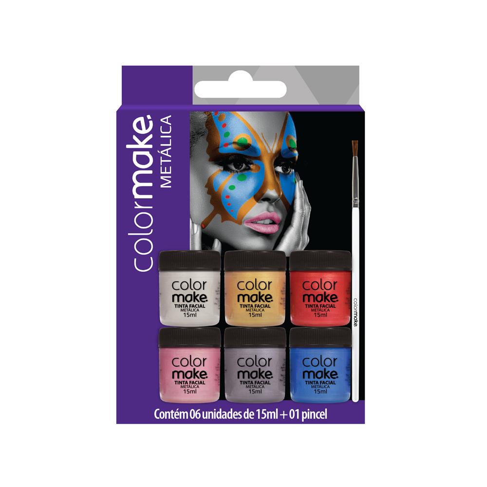 Cartela Líquida Metálica com 6 cores + pincel