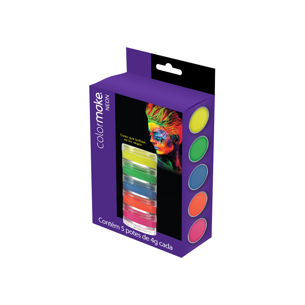 Cartela Tinta Cremosa Neon com 5 cores