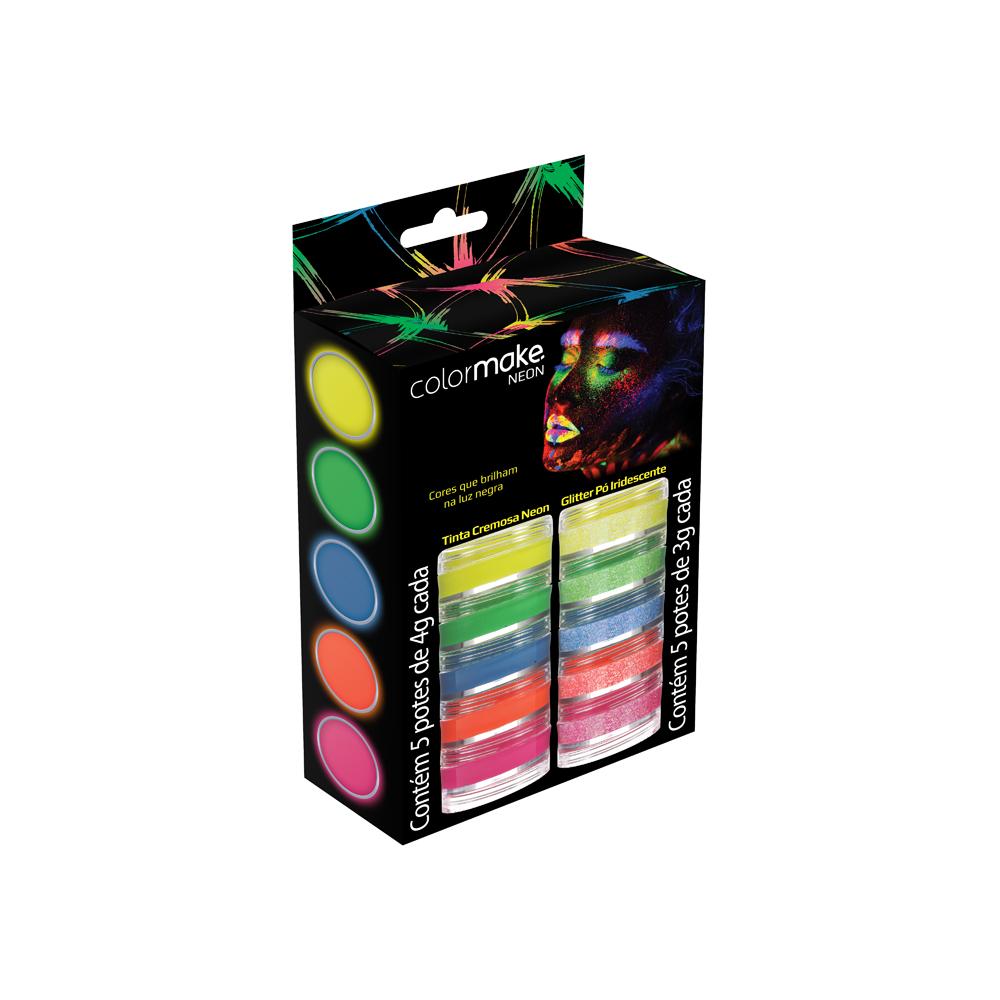 Kit Tinta Cremosa e Glitter Neon