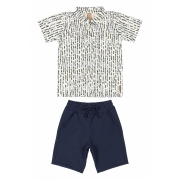 Conjunto Camisa Com Gola e Bermuda Ramos