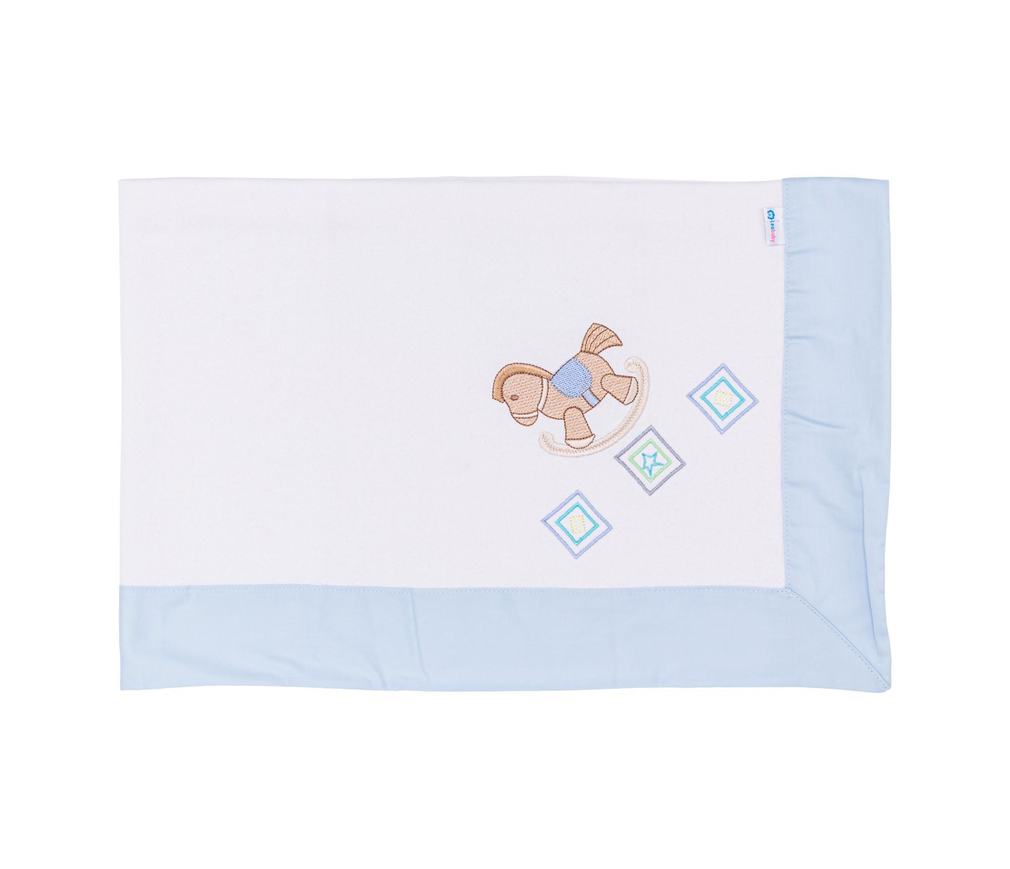 Cobertor Cueiro Bordado Cavalinho Azul 234