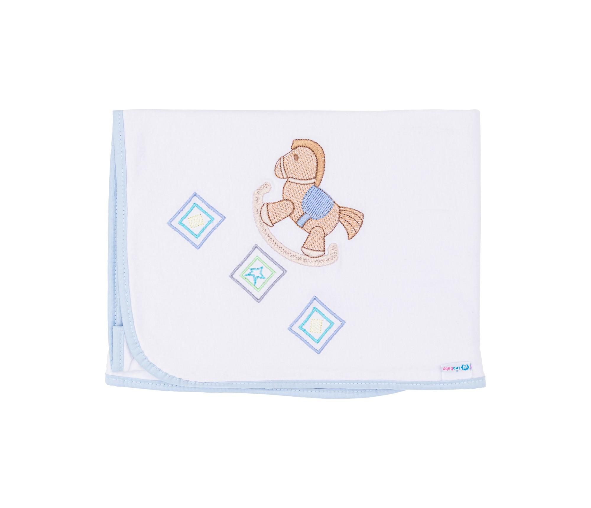 Cobertor Cueiro Malha Dupla Cavalinho Azul 231