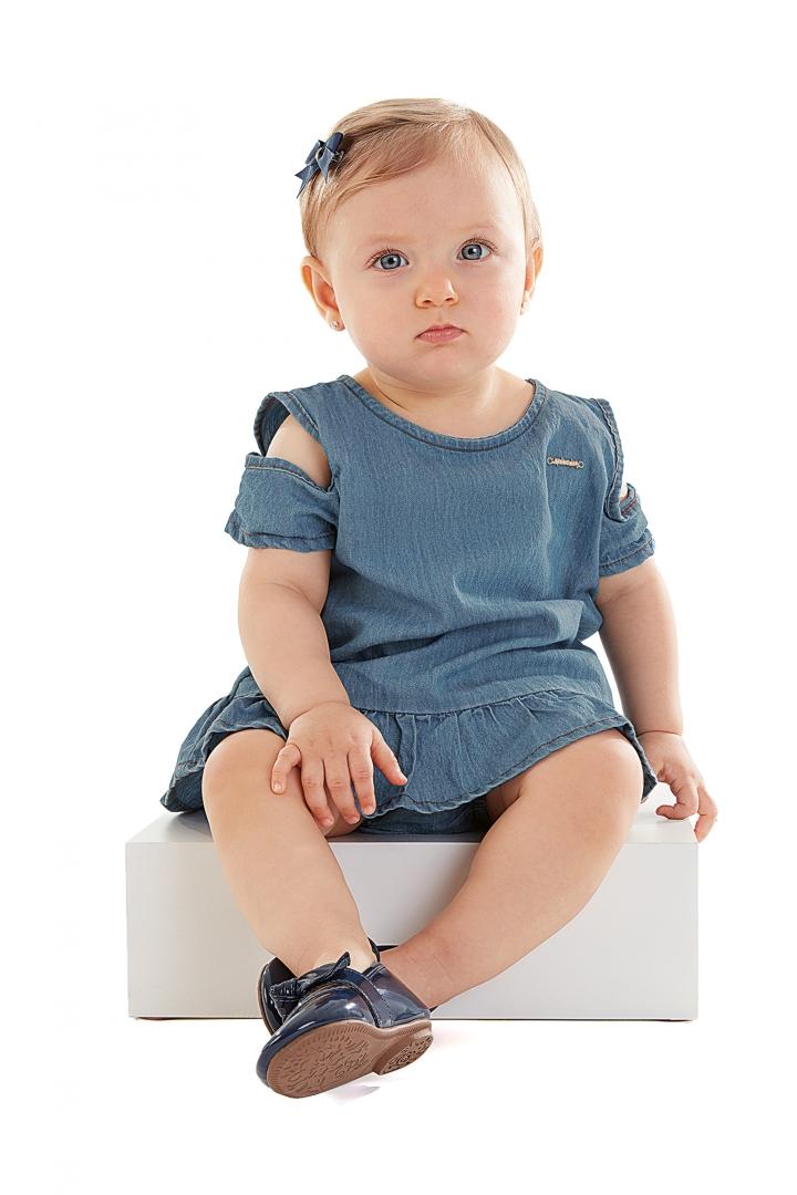 Conjunto Bata e Calcinha em Tecido Jeans