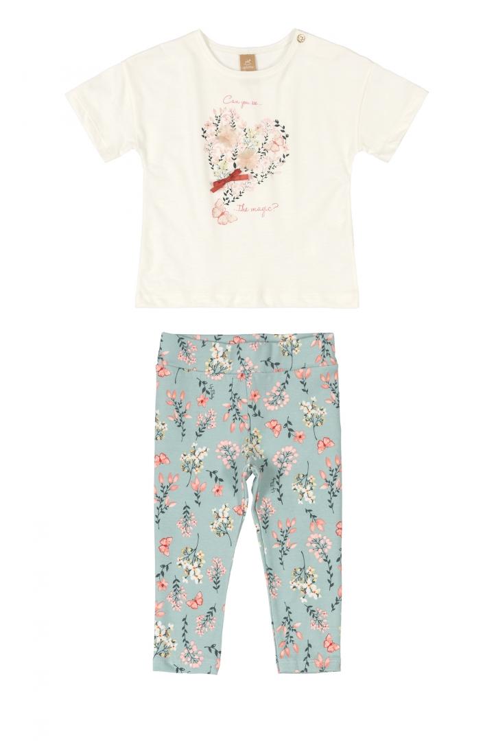 Conjunto Blusa e Calça Flores