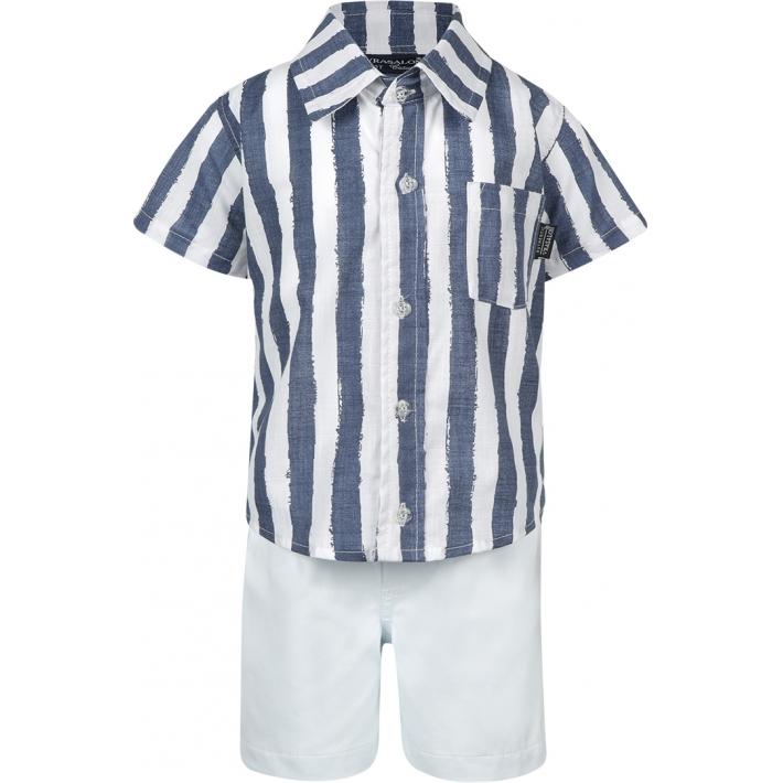 Conjunto Camisa Listrada em Linho