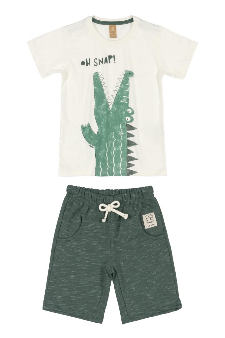 Conjunto Camiseta de Malha e Bermuda Jacaré
