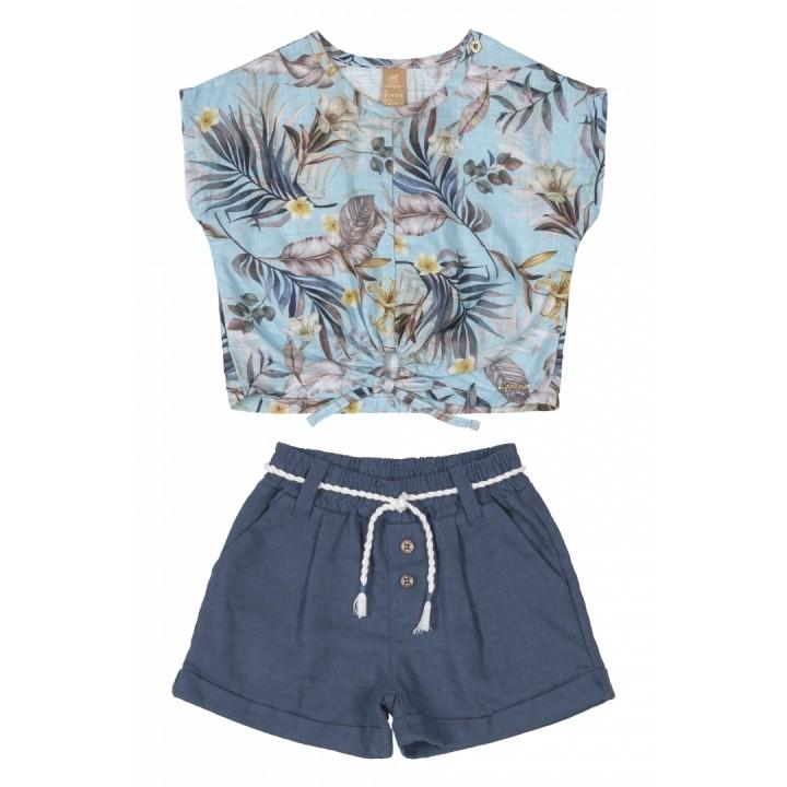 Conjunto Floral em Linho 120642734