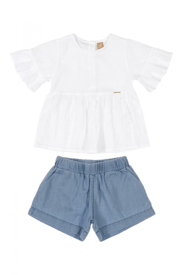 Conjunto Jeans Básico Feminino 120642737