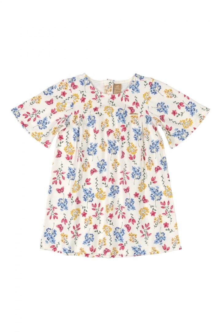Vestido Manga Curta Flores 050142751