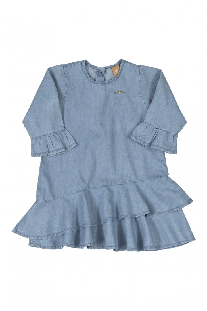 Vestido Manga Curta Jeans 050142736