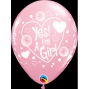 "BALÃO 11 POLEGADAS R ROSA YES"" I'M A GIRL PC 50 QUALATEX  #11760"