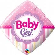 BALÃO 18 POLEGADAS D BABY GIRL PONTOS E LISTRAS #14383