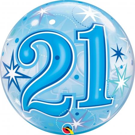 BALÃO BUBBLE 21 EXPLOSÃO DE ESTRELAS E BRILHOS AZUL - 22 POLEGADAS  - QUALATEX #48441