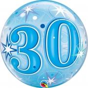 BALÃO BUBBLE 30 EXPLOSÃO DE ESTRELAS E BRILHOS AZUL - 22 POLEGADAS  - QUALATEX #48443
