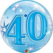 BALÃO BUBBLE 40  EXPLOSÃO DE ESTRELAS E BRILHOS AZUL - 22 POLEGADAS  - QUALATEX #48445