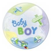 BALÃO BUBBLE BABY BOY AIRPLANES - 22 POLEGADAS  - QUALATEX #69728