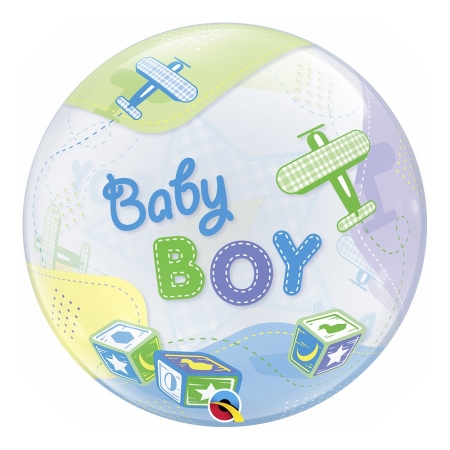 BALÃO BUBBLE BABY BOY AIRPLANES - 22 POLEGADAS  - QUALATEX #69728